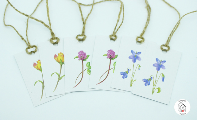 Mixed Wildflower Gift Tags - Pack of 6 - Prints of Original Hand Paintings