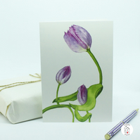Tulip Flower Greeting Card, Print of Original Hand Painted Tulip