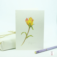 Hand Painted Watercolour Yellow and Pink Rose Greeting Card Original