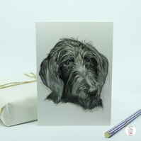 Labradoodle Dog Greeting Card Print of Hand Drawn Pet Portrait by CottageRts