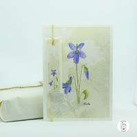 Violet Greeting Card With Tag - Hand Designed by CottageRts