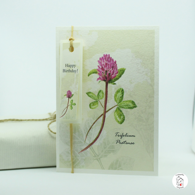 Red Clover Flower Greeting Card  With Tag, Hand Designed By CottageRts