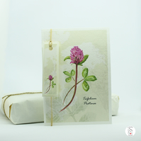 Red Clover Flower Greeting Card  With Tag - Hand Designed By CottageRts