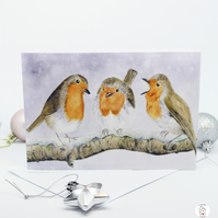 Three Robins Christmas Card - Watercolour Card - Hand Designed By CottageRts