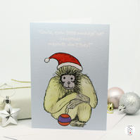Christmas Card Naughty Monkey Watercolour Hand Designed By CottageRts