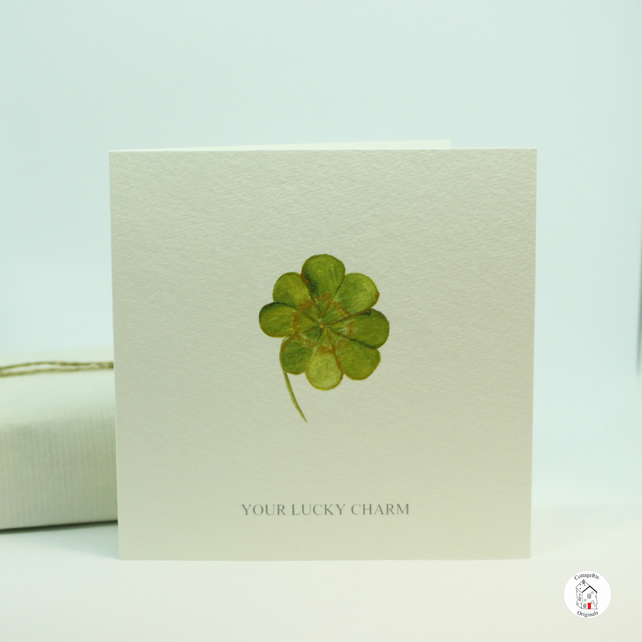 Lucky Clover Greeting Card - Good Luck Card - Hand Designed By CottageRts