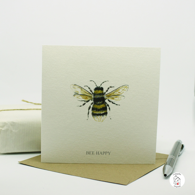 Bumble Bee Greeting Card Hand Finished and Designed By CottageRts