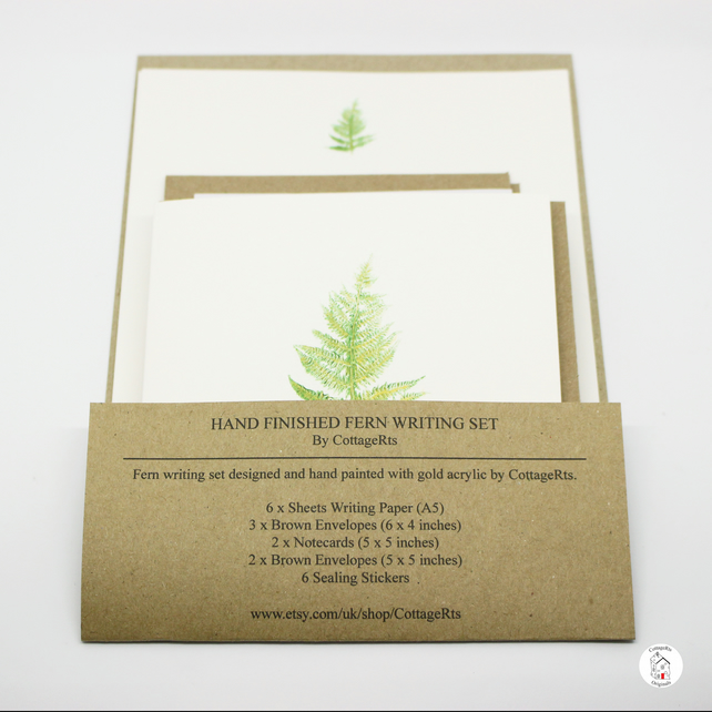 Fern Letter Writing Set Stationery Set Hand Designed By CottageRts