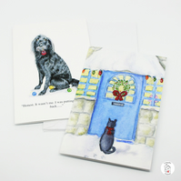 Pack of Christmas Cards Dog And Cat,Hand Designed And Finished by CottageRts