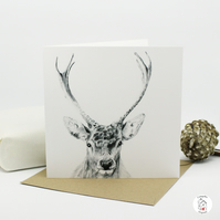 Stag, Deer Greeting Card, Autumn, Winter, Christmas Card Hand Designed