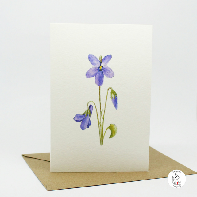 Violet Flower Greeting Card - Blank Inside - Hand Designed By CottageRts