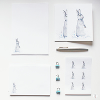 Rabbit Letter Writing Stationery Christmas Present Set Hand By CottageRts