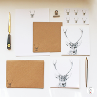 Stag Deer Letter Writing Paper Stationery Hand Designed By CottageRts