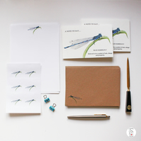 Damselfly Dragonfly Stationery Letter Writing Set Hand Designed By CottageRts