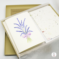 Lavender Letter Writing Stationery Set With Plantable Paper and Gift Box