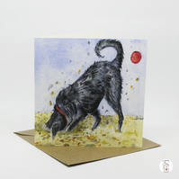 Hand Designed Digging Labradoodle Dog On Beach Greeting Card - Blank Inside