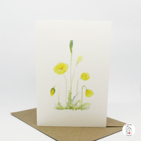 Yellow Poppy Greeting Card - Blank Inside