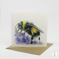 Floral Bumble Bee Coloured Pencil Hand Designed Greeting Card