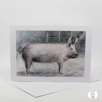 Pig Greeting Card Hand Designed By CottageRts