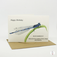 Birthday Card Damselfly Dragonfly Hand Finished By CottageRts