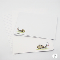 Snail Letter Writing Paper and Envelopes Snail Mail Hand Designed By CottageRts