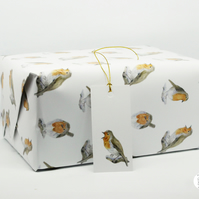 Watercolour Robin Gift Wrap Wrapping Paper Hand Designed By CottageRts