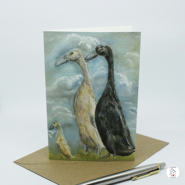 Runner Duck Greeting Card - Duck Birthday Card - Blank
