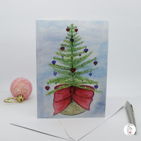 Watercolour Christmas Card Christmas Tree Hand Designed By CottageRts
