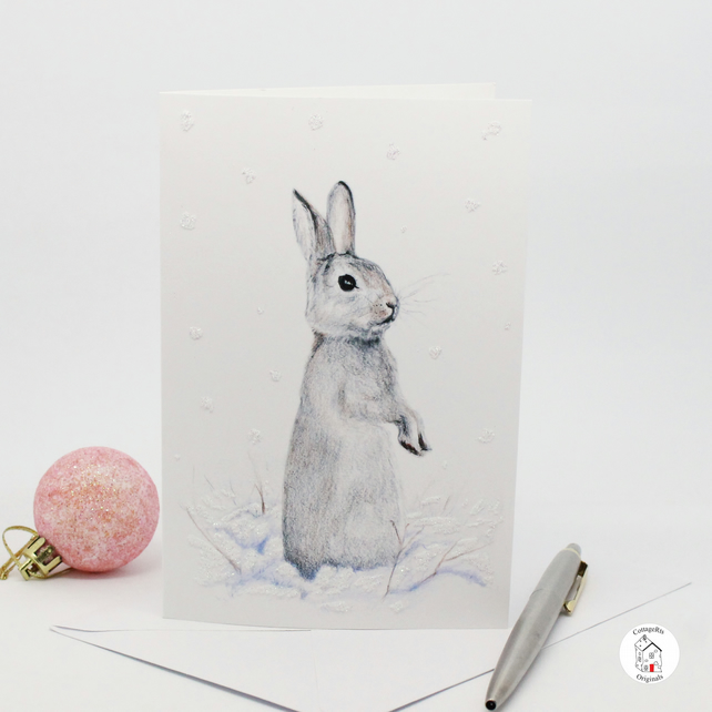 Rabbit Christmas Card Hand Designed and Finished By CottageRts