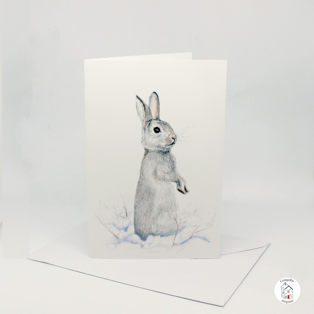 Rabbit Greeting Card Hand Designed And Finished By CottageRts