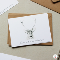 Stag Thank You Postcards - Pack of 6 - Christmas - Designed By CottageRts