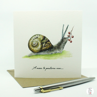 New Home Card, Snail New Address, House Warming Card Hand Designed By CottageRts