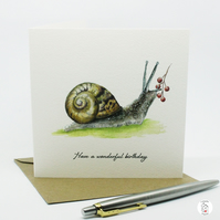 Snail Birthday Card Hand Designed By CottageRts