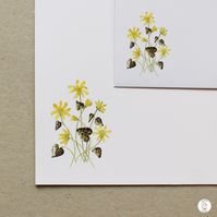 Lesser Celandine Letter Writing Paper and Envelopes Hand Designed By CottageRts
