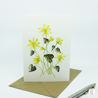 Lesser Celandine Botanical Watercolour Greeting Card by CottageRts