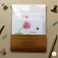 Honeysuckle and Bumble Bee Stationery Writing Set Hand Designed By CottageRts