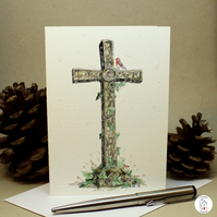 Christian Christmas Card - Christmas Cross Card - Hand Designed and Finished