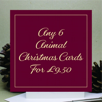 Christmas Card Mixed Pack - Any 6 - Hand Designed and Finished By CottageRts