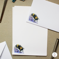 Bumble Bee With Flowers Letter Writing Paper Christmas Gift By CottageRts