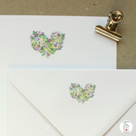 Floral Love Heart Letter Writing Paper and Envelopes Hand Designed By CottageRts