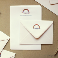 Hand Finished Rainbow Letter Writing Paper and Envelopes By CottageRts