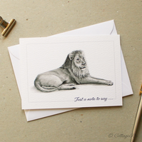 Lion Graphite Pencil Drawing Notecards - 6 Flat Postcards and Envelopes