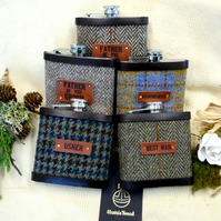 Set of Five Rustic Woodland or Barn Wedding Themed Harris Tweed Hip Flasks