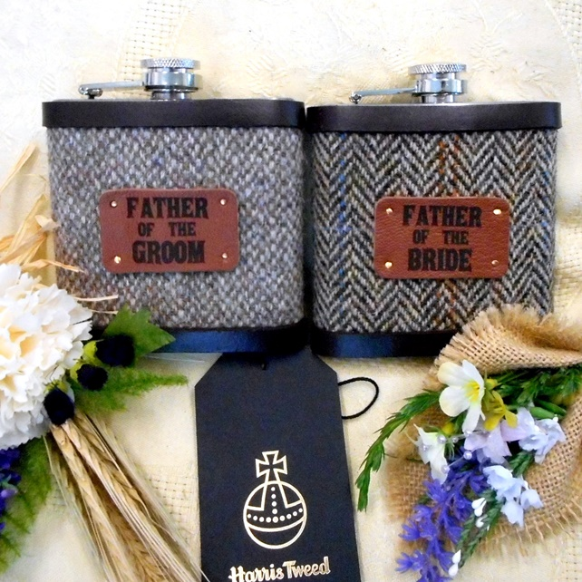 Father of the Bride and Groom  Rustic  Woodland Wedding Harris Tweed Hip Flasks