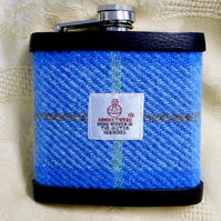 Hip flask Harris Tweed  sky blue lime and peach mens gift  retirement birthday