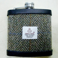 Olive green herringbone Harris Tweed hip flask  gift for men Best Man