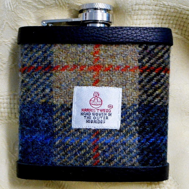 Beige blue and red Harris Tweed hip flask  gift for men Best Man