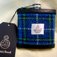 Blue green tartan Harris Tweed hip flask  gift for men Best Man