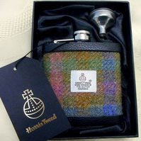 Pink green blue and gold Harris Tweed hip flask  gift for men Best Man
