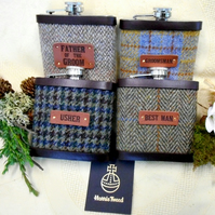 Set of Four Rustic Woodland or Barn Wedding Themed Harris Tweed Hip Flasks